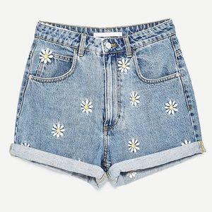 Zara Daisy High Waist Denim Shorts